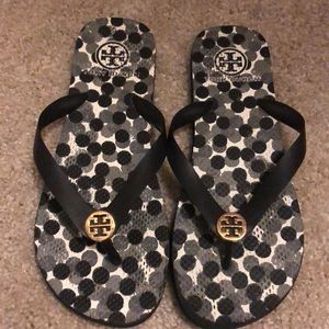 Black and White Tory Burch Flip Flops